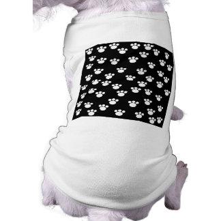 Black and White Animal Paw Print Pattern. Dog T-shirt