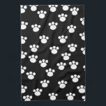 "Black and White Animal Paw Print Pattern. Hand Towel<br><div class=""desc"">White paw print pattern on a black background.</div>"