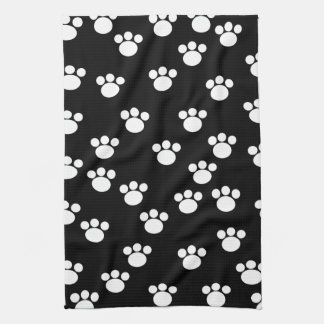 Black and White Animal Paw Print Pattern. Hand Towel
