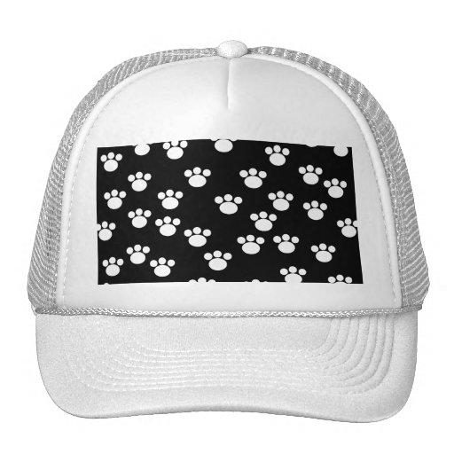 Black and White Animal Paw Print Pattern. Trucker Hats
