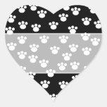 Black and White Animal Paw Print Pattern. Heart Sticker
