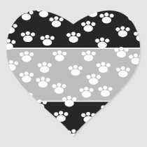 Black and White Animal Paw Print Pattern. Heart Sticker