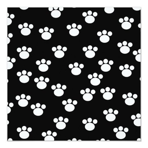 Black and White Animal Paw Print Pattern. Invitation
