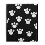 Black and White Animal Paw Print Pattern. iPad Case
