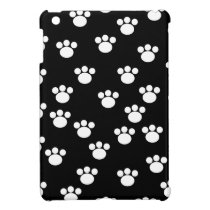 Black and White Animal Paw Print Pattern. iPad Mini Case