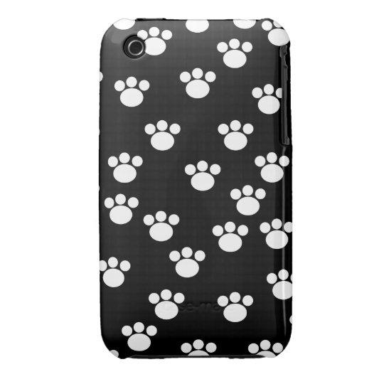 Black and White Animal Paw Print Pattern. iPhone 3 Case