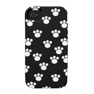 Black and White Animal Paw Print Pattern. iPhone 4/4S Cases