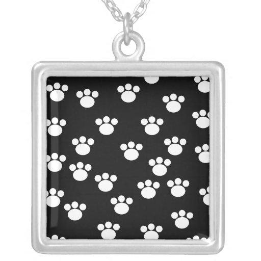 Black and White Animal Paw Print Pattern. Jewelry
