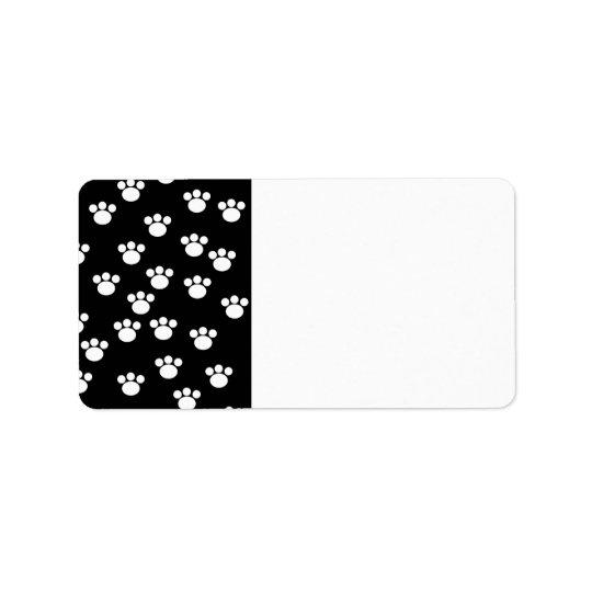 Black and White Animal Paw Print Pattern. Label