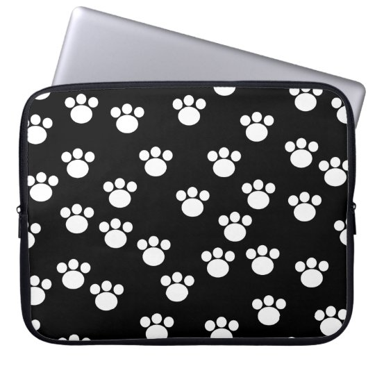 Black and White Animal Paw Print Pattern. Laptop Computer Sleeve