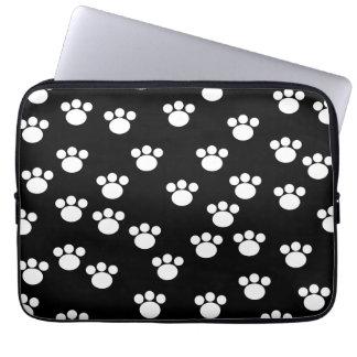 Black and White Animal Paw Print Pattern. Laptop Sleeves