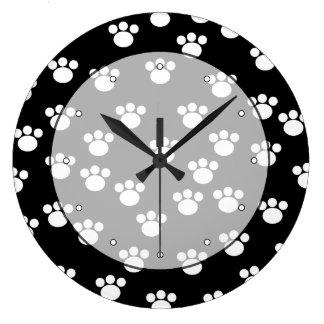 Black and White Animal Paw Print Pattern. Large Clock