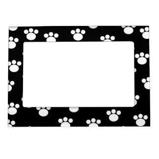 Black and White Animal Paw Print Pattern. Picture Frame Magnet
