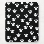 """Black and White Animal Paw Print Pattern. Mouse Pad<br><div class=""""desc"""">White paw print pattern on a black background.</div>"""