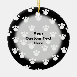 Black and White Animal Paw Print Pattern Ornament