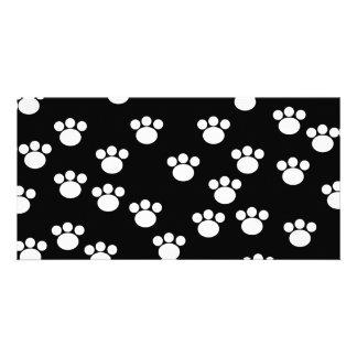 Black and White Animal Paw Print Pattern. Photo Card