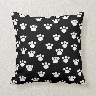 Black and White Animal Paw Print Pattern. Pillow