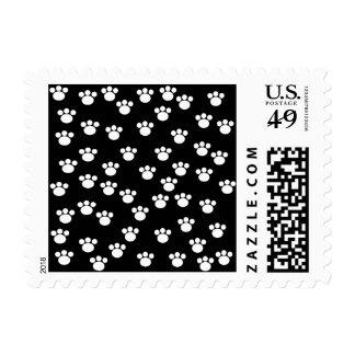 Black and White Animal Paw Print Pattern. Postage Stamp