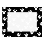 Black and White Animal Paw Print Pattern. Post Card