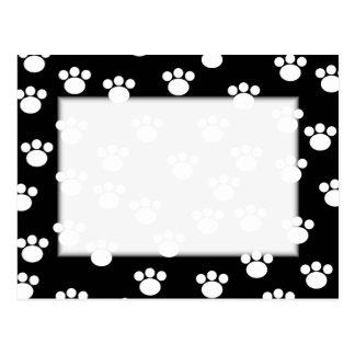 Black and White Animal Paw Print Pattern. Postcard