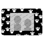 Black and White Animal Paw Print Pattern. Vinyl Magnets