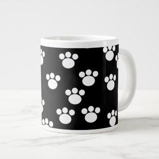 Black and White Animal Paw Print Pattern Jumbo Mug