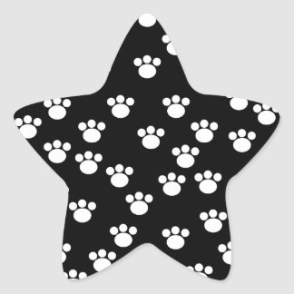 Black and White Animal Paw Print Pattern. Star Sticker