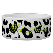 Black and white animal print fur of leopard bowl