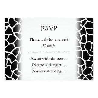 Black and White Animal Print Giraffe Pattern 3.5x5 Paper Invitation Card