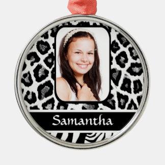Black and white animal print metal ornament