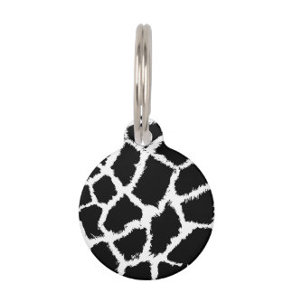 Black and White Animal Print Pattern Pet ID Tag