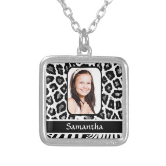 Black and white animal print silver plated necklace
