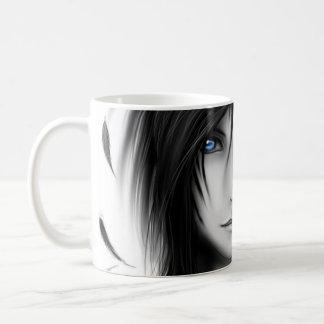 Black and white anime dark angel boy coffee mug