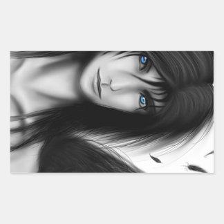 Black and white anime dark angel boy rectangular sticker