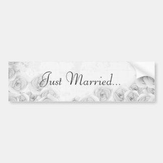 Black and white antique rose bumper sticker