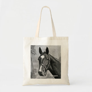 Black and White Antique Vintage Horse Illustration Budget Tote Bag
