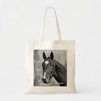 Black and White Antique Vintage Horse Illustration Tote Bag