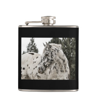 Black and White Appaloosa Horse Hip Flask