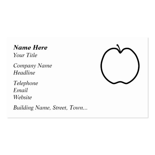 Black and white apple business card template zazzle for Business card template for mac