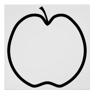 Black and White Apple. Poster
