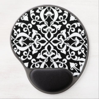 Black and White Arabesque Design Gel Mouse Pad