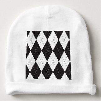 Black and White Argyle Baby Beanie