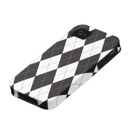 Black and White Argyle Case-Mate iPhone 4 Covers