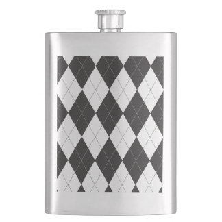 Black and White Argyle Flasks