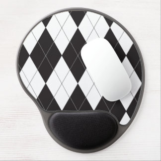 Black and White Argyle Gel Mouse Pads