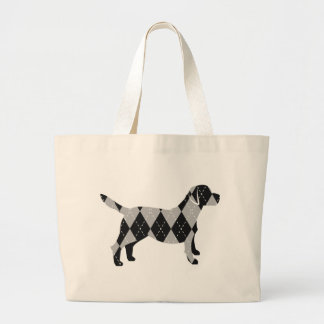 Black and White Argyle Labrador Dog T-Shirt Bags