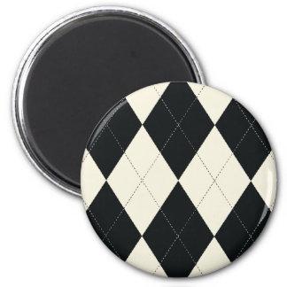 Black and White Argyle Magnet