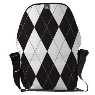 Black and White Argyle Messenger Bag
