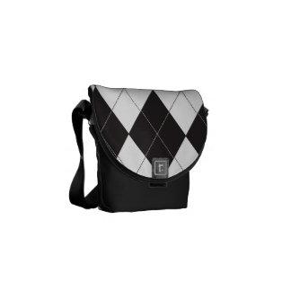 Black and White Argyle Messenger Bags