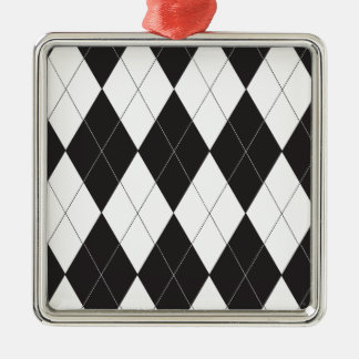 Black and White Argyle Metal Ornament
